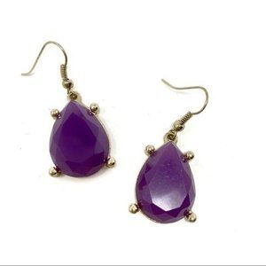 Francesca's Purple Jewel Cut Tear Drop Earrings